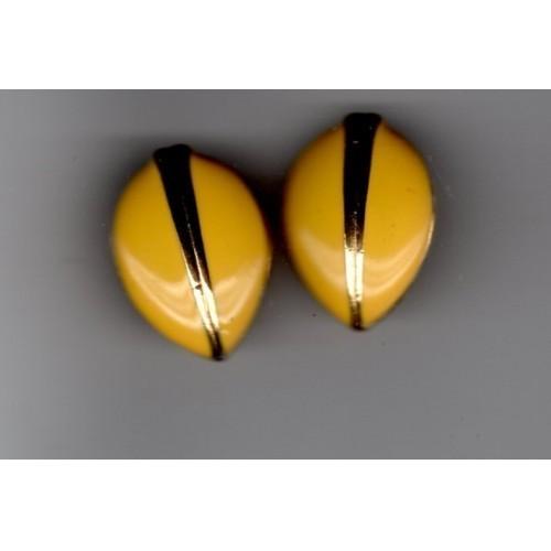 Vintage Oblong Enameled Clip-on Earrings