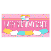 Pink Pillows Personalized Birthday Banner Party... - $22.50 - $37.00