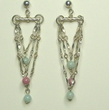 Sterling Silver Triple Chain Earrings with Gemstones - $17.99