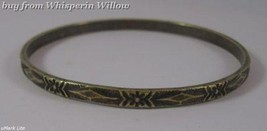 Oxidized Brass Bangle with Floral Design - $12.50