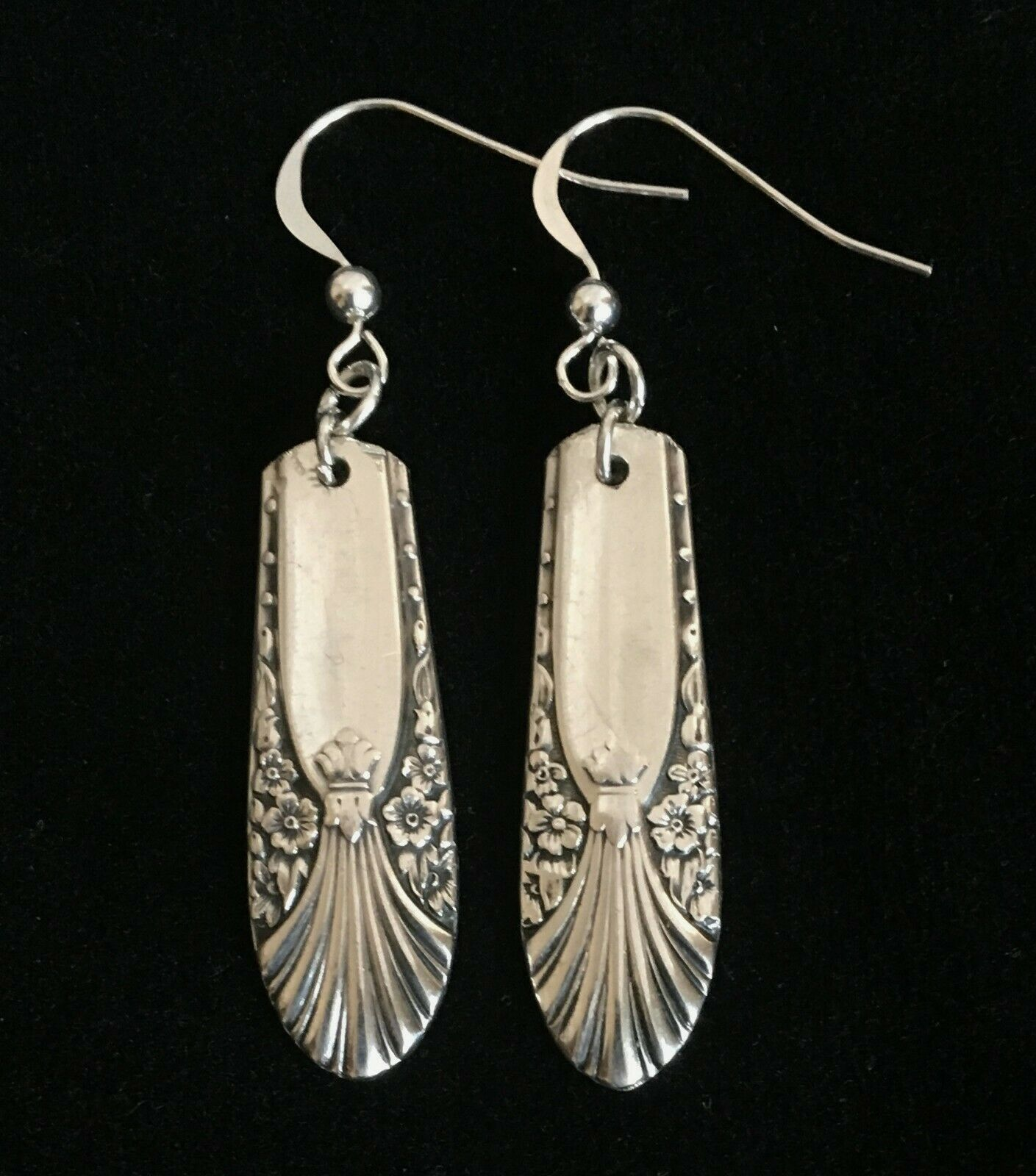 "Primary image for Antique Vintage Spoon International Silver Plate ""Radiance"" Crown Earrings 1930s"