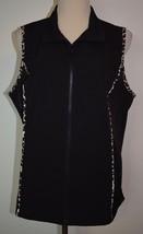 CJ Christopher Banks Sz X Vest Black Leopard Print Sleeveless Jacket Zip... - $17.72