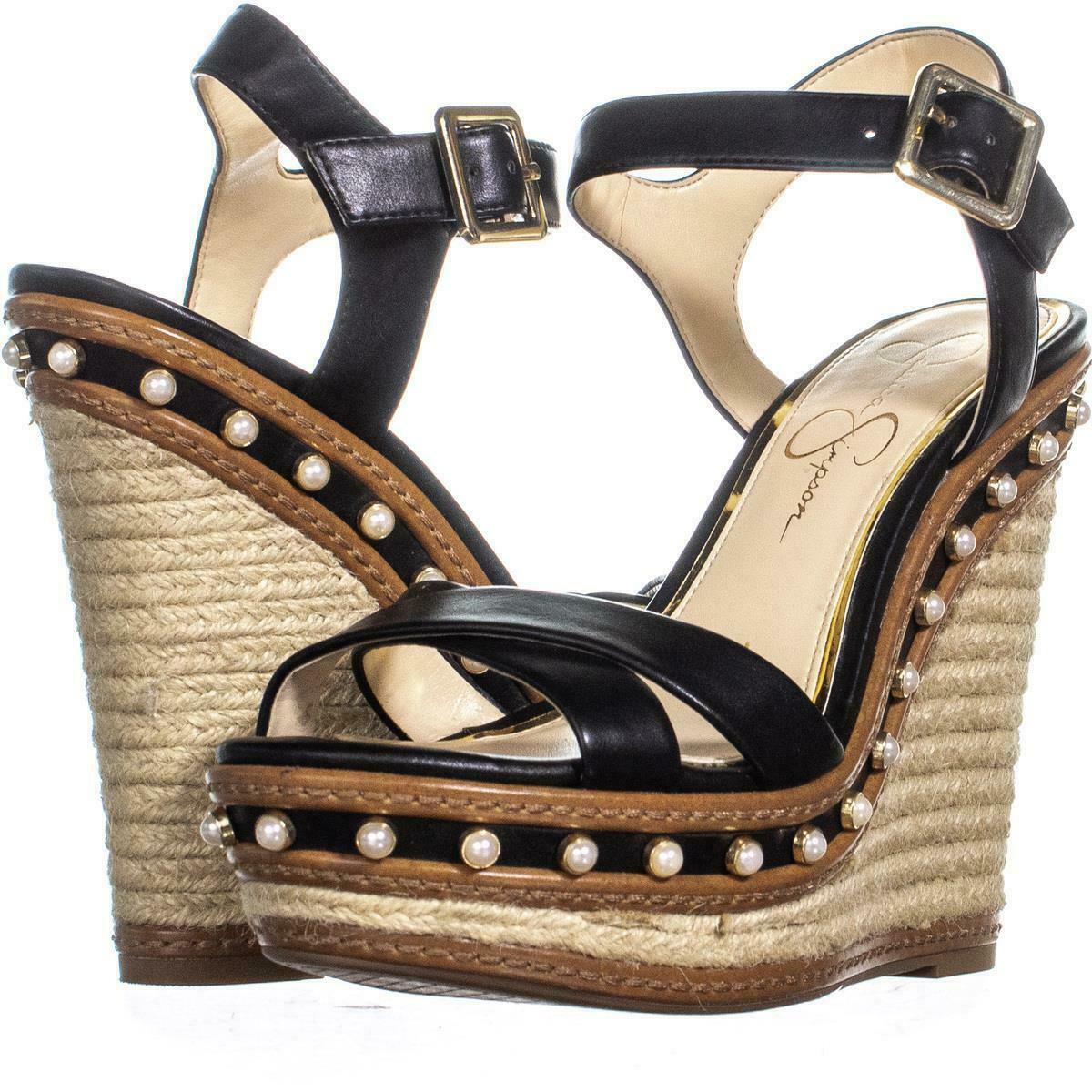 Jessica Simpson Aeralin Wedge Slingback Sandals 867 Black