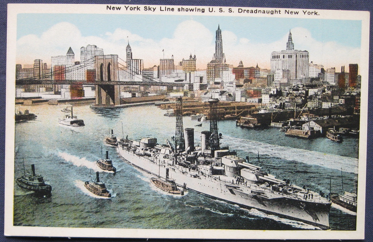 Enrique Muller, White Border, color postcard, New York Sky Line with U.S.S. New