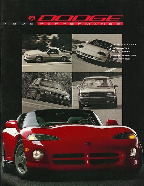 1993 Dodge VIPER STEALTH DAYTONA brochure catalog US 93