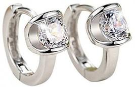 QTALKIE 8MM 925 Sterling Silver Crystal Small Huggie Hinged Hoop Earrings For - $21.65
