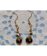 Cloisonne Bead and Freshwater Pearl Earrings - $8.00