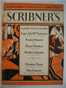 1933 SCRIBNER'S MAGAZINE AUG Max Eastman wraps SCARCE