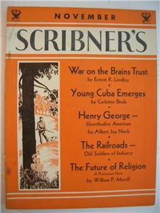 1933 SCRIBNER'S MAGAZINE Nov Railroads NRA wraps SCARCE