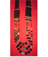 Artisan Triple Strands Glass and Gemstone Beaded Necklace 30 inch - $32.50