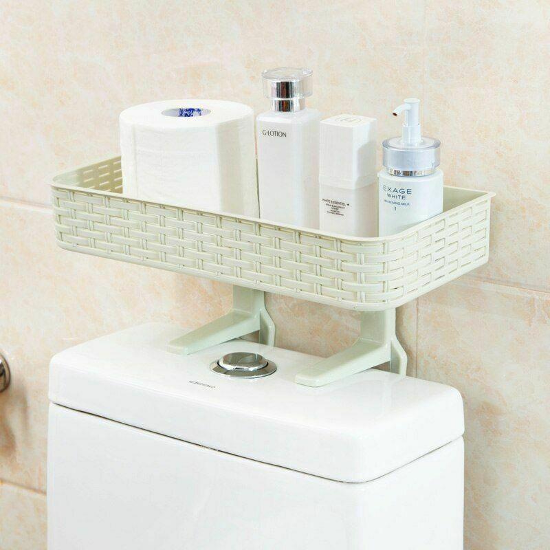 Wall Mounted Plastic Storage Rack Suction Bathroom Kitchen Shelf Basket Holder image 9