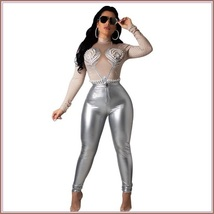 Shiny Silver Tight Fit Faux Leather High Waist Front Zip Up Legging Pencil Pants image 1