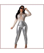Shiny Silver Tight Fit Faux Leather High Waist Front Zip Up Legging Penc... - $68.95