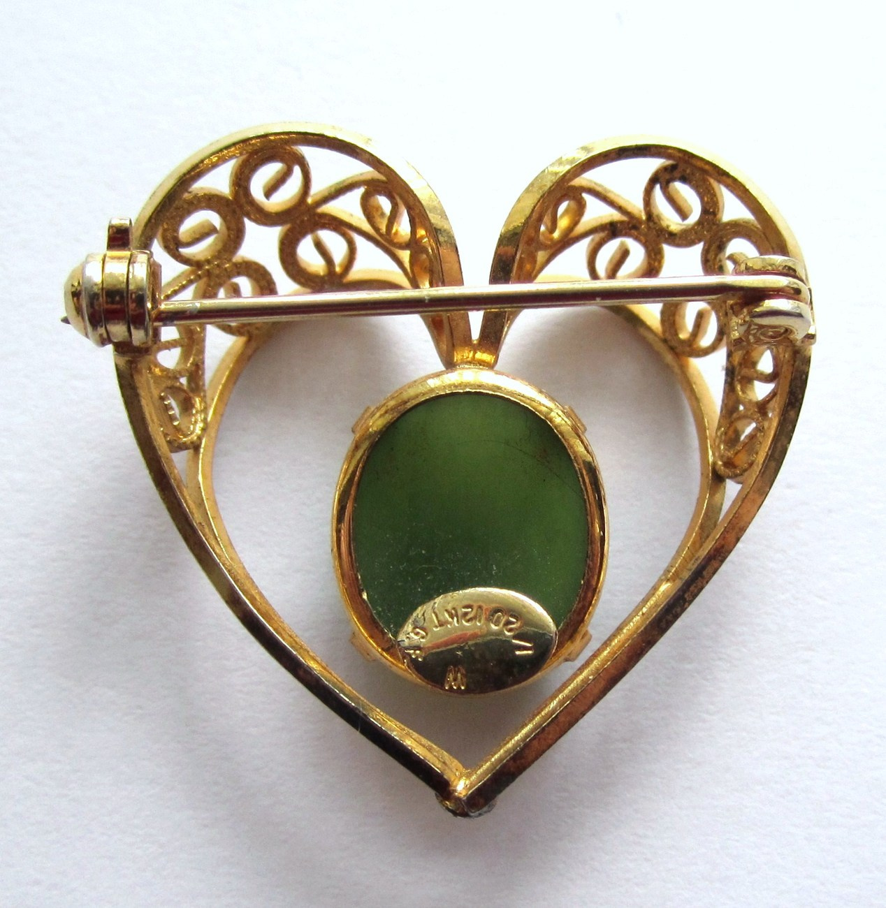 12k Gold Filled Heart Pin With Green Cabochon Stone