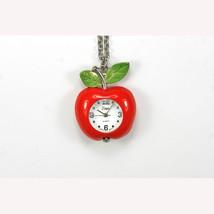 "Vivani Red Apple Pendant 28"" Silver Chain White Necklace Quartz Battery ... - $9.46"