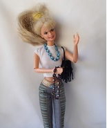 Handcrafted Doll Jewelry 2 Seed Bead Flower Necklaces + Fringe Beaded Pu... - $19.99