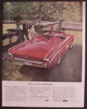 1963 Ford Thunderbird T-Bird vintage print ad red convertible car - $7.95