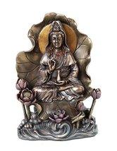 6.75 Inch Lotus Kuan Yin Indian Hindu Goddess Resin Statue Figurine - $31.10