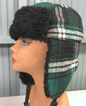 Enjoi Skateboard Green Plaid Small / Medium Trapper Aviator Cap Hat - $21.11