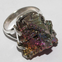 Beautiful Bismuth Crystal Ring Size 8 US or Q UK , 925 Silver, Handmade - $32.00