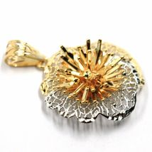 18K YELLOW WHITE GOLD FLOWER, ONDULATE, FINELY WORKED TWO TONE 2cm PENDANT image 3