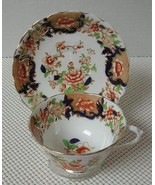 Antique China TEA CUP & SAUCER by CHELSON Floral Rust Cobalt Gold Trim H... - $11.63