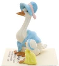 Hagen-Renaker Miniature Ceramic Bird Figurine Goose Blue Mother and Sister Set image 4