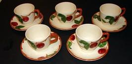 SET 5 Vintage Franciscan Apple Tea Cup & Saucer Set Made in California U... - $23.76
