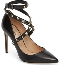 Valentino Garavani Rockstud Pointy Toe Leather Pumps Ankle Strap Shoes 38.5 - $579.00