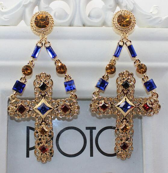 luxury crystal jewely women baroque drop earrings cross gold color dangle earrin