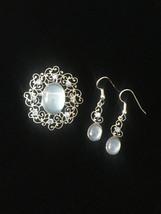 Vintage 50s Van Dell Opalite/Rhinestone Oval Brooch/pendant and Earrings Set image 1