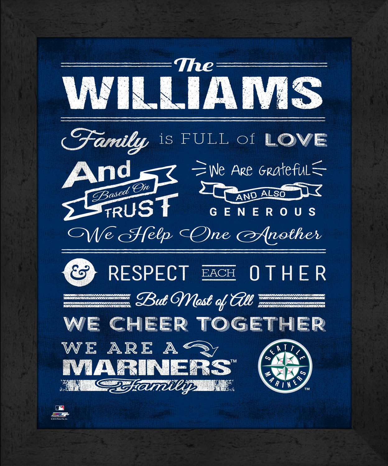 "Primary image for Seattle Mariners ""Family Cheer"" 13 x 16 Framed Print"