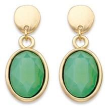 Oval Simulated Green Aquamarine Gold Tone Bezel-Set Drop Earrings (38mm) - $10.52