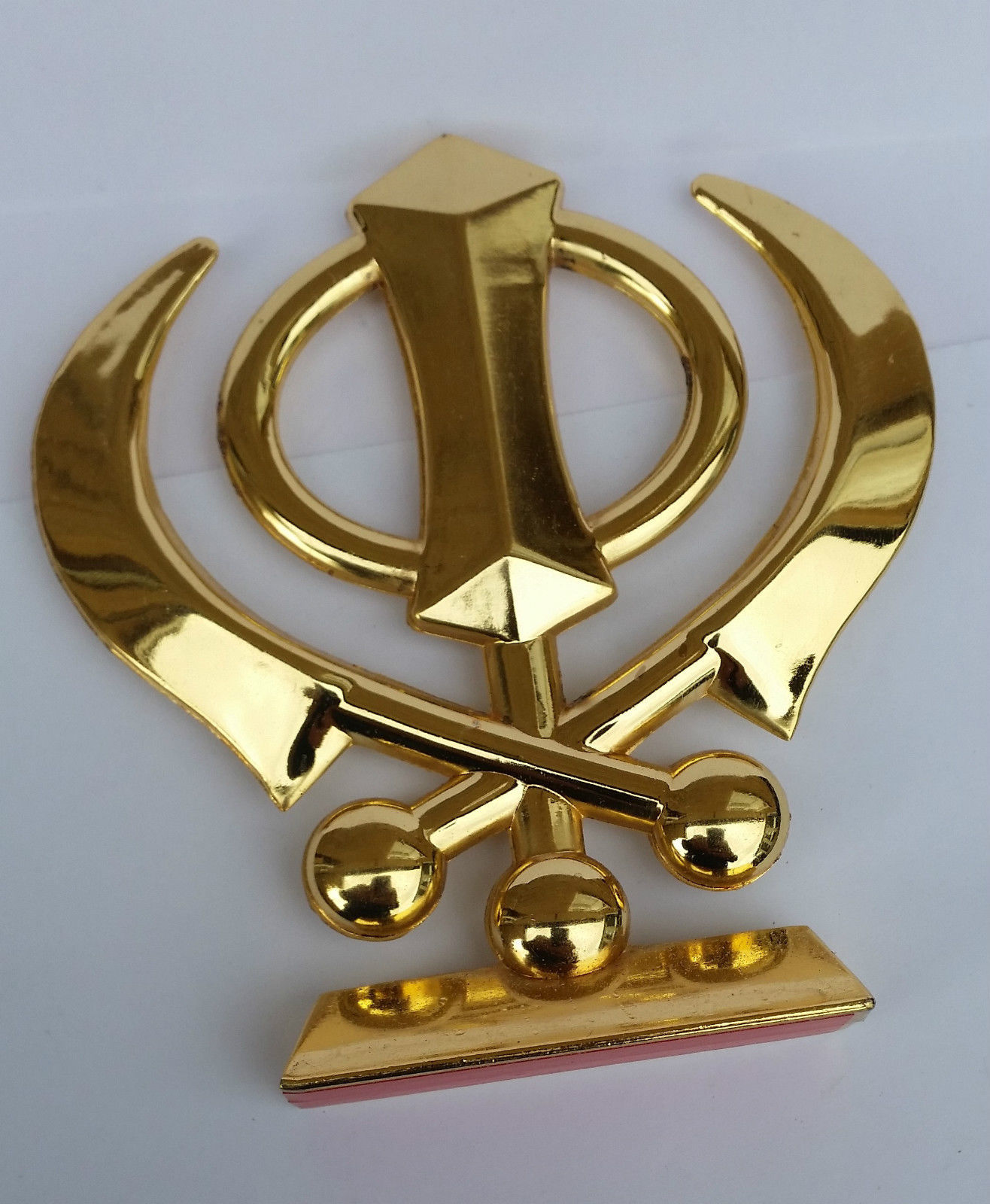 Car Dashboard Mantle Piece 3D Stunning Gold Tone Small Khanda Stand GIFT item