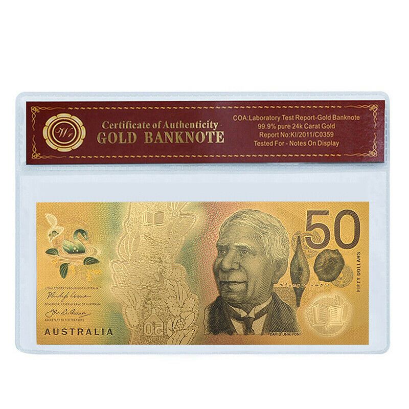 WR New Australian $50 Dollar Colored Gold Foil Banknote Paper Money In Sleeve