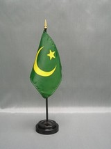 "MAURITANIA 4X6"" TABLE TOP FLAG W/ BASE NEW DESK TOP HANDHELD STICK FLAG - $4.95"