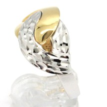 18K WHITE YELLOW GOLD BAND RING, INFINITE, BRAID, WEAVE, HAMMERED AND POLISHED   image 2