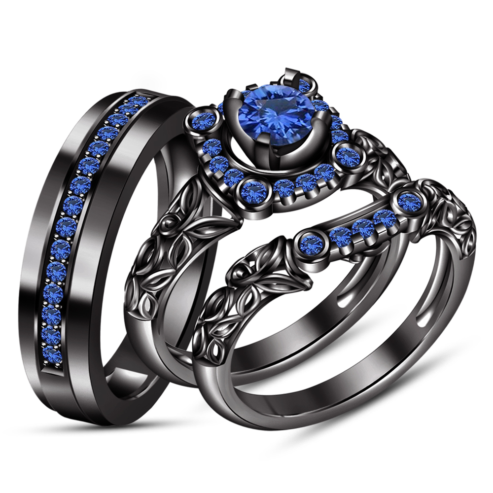 Blue Sapphire His & Her Wedding Band Ring Trio Set Black Gold Finish 925 Silver - £110.48 GBP