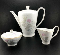 Vintage Rosenthal PARISIAN SPRING WHITE Coffee Pot w/ Lid, Creamer & Sug... - $72.01