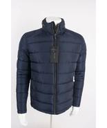 Zara Man Mens Puffer Coat Jacket Navy Blue Water Repellent Hooded 6719/4... - $119.00