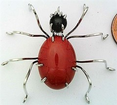 Red Jasper Spider Stainless Steel Wire Wrap Brooch 3 - $31.99