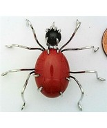 Red Jasper Spider Stainless Steel Wire Wrap Brooch 3 - $28.97
