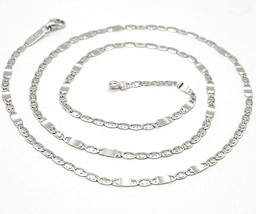18K WHITE GOLD CHAIN FLAT OVAL ALTERNATE LINK 3 MM, 20 INCHES, ITALY MADE image 1