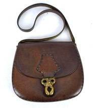 Vtg 60s Brown Leather Purse Shoulder Bag Retro Western Side Saddle Hippi... - $18.80