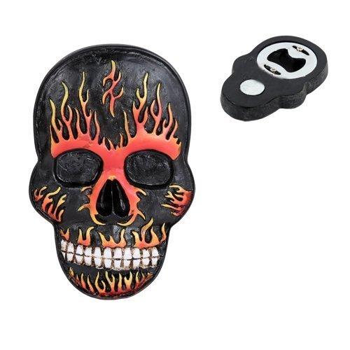 Flamed Hell Skull Magnet Bottle Opener Figurine Made of Polyresin - $9.90
