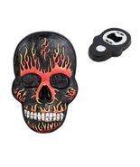 Flamed Hell Skull Magnet Bottle Opener Figurine Made of Polyresin - £7.00 GBP