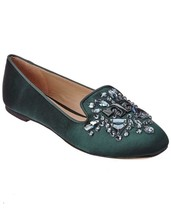 Tory Burch Delphine Crystals Loafers Slip On Green Satin Flats Shoes 10 ... - $149.00