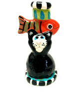 Folk Art Hand Made Cat Fish Ceramic Candle Stick Holder - $27.72