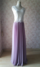 Rustic Wedding Lavender Maxi Chiffon Skirt Lace Top 2-Piece Bridesmaid Dresses image 2