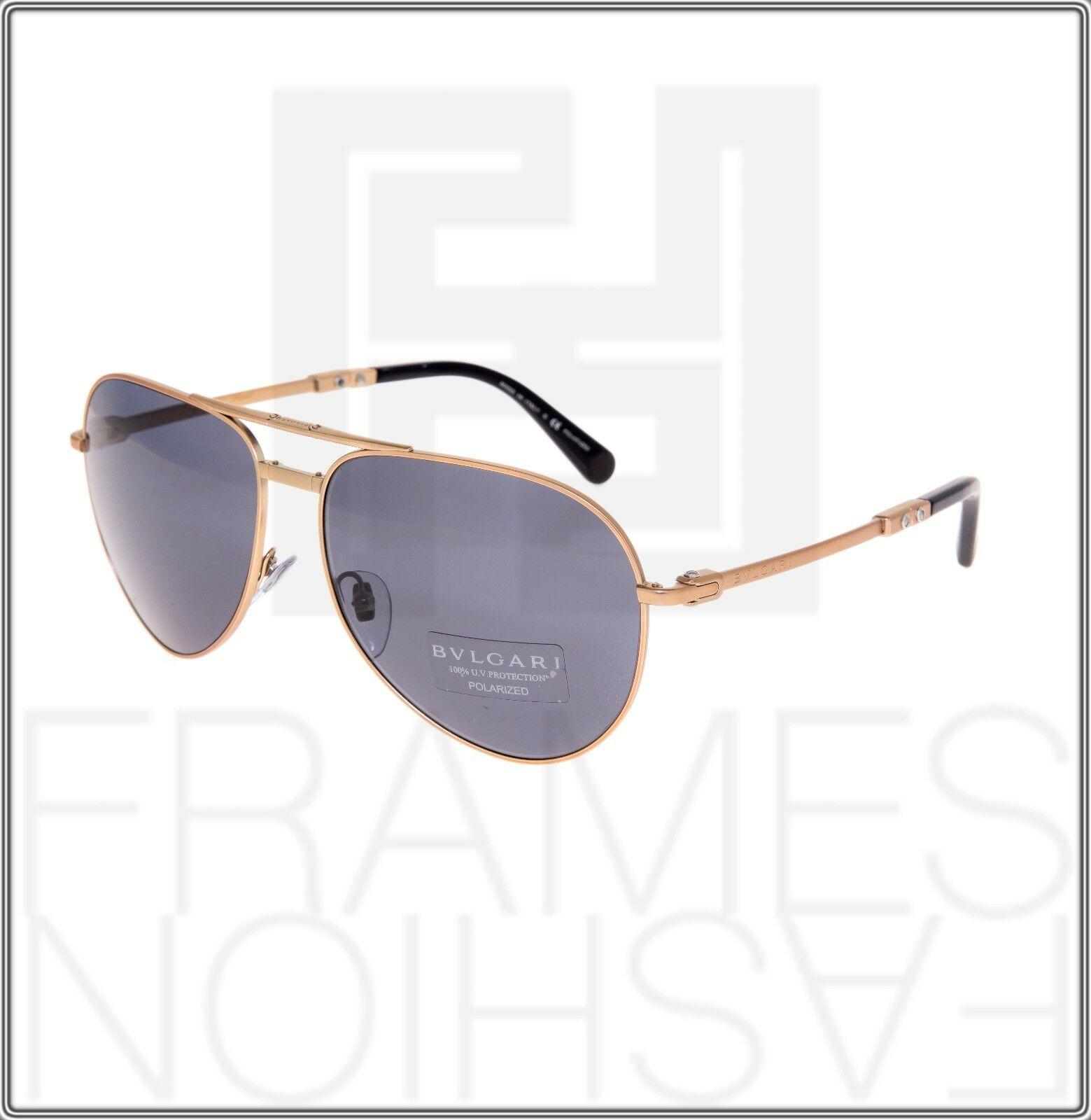 BVLGARI Le Gemme Black Rose Gold 18K Plated POLARIZED Foldable Sunglasses 5034